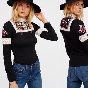 Free People Cozy On Up Embroidered Top -  Black